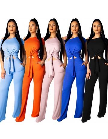 Fashion Casual Diagonal Collar Wide Pants Suit