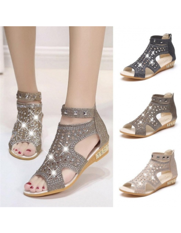 Womens New Rhinestone Sandals Roman Wedge