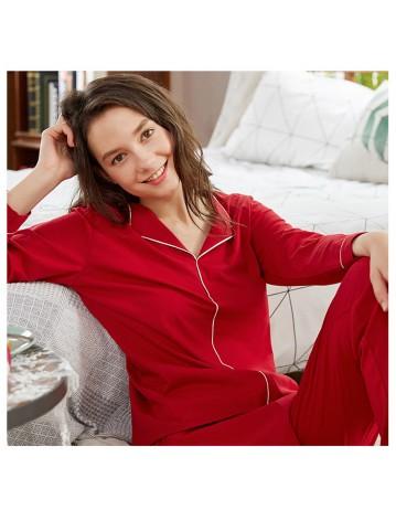 Lapel Cotton Pajamas Set