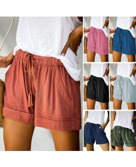 Womens Drawstring Elastic Waist Shorts With Pockets