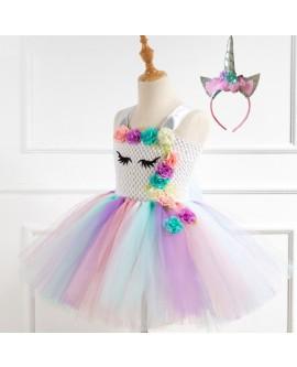 Mesh Flower Unicorn Princess Dress