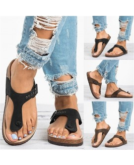 Summer Fashion Women Casual Style Flat Sandals Open Toe Flip Flops Shoes Ladies Beach Wear Gladiator Leather Flat with Buckle Slippers