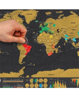 Deluxe Travel Edition Scratch Off World Map Poster Personalized Log Gift