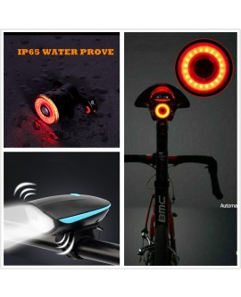 Rechargeable LED Bike Headlight with Bell and Tail Light