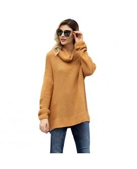 Women High Collar Pullover Sweater