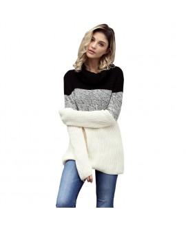 Women Contrast High Collar Sweater