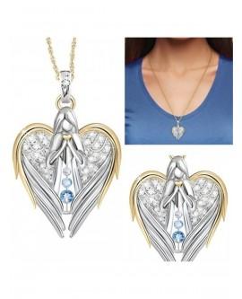 Christian Baptism Angel Heart Necklace