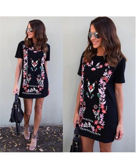 Womens Printed Long Tops T-Shirt Dress