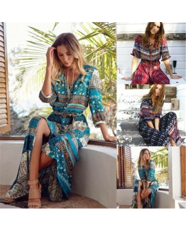 Womens Bohemian Floral Maxi Dress