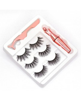3 Pair of Different Magnetic Eyelashes and Magnetic Eyeliner Kit