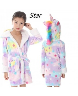 Kids Unicorn Bathrobe Dressing Gown Pyjamas
