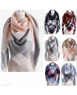Womens Warm Check Neck Scarf/Shawl