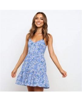 Women's Print Sling Sleeveless V-Neck Pleated Skirt Dress