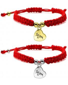 Mom Pendant Red Braided String Bracelet