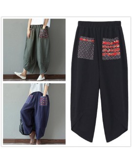 Ethnic Style Patchwork Casual Cotton Linen Bloomers