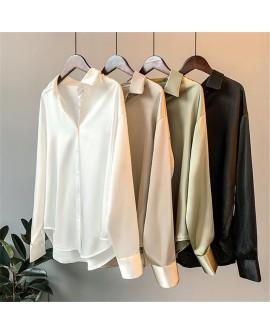 Women's Long Cuff Sleeve Satin Silk Shirt