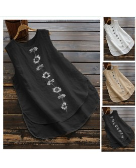 Daisy Sleeveless Round Neck Casual Vest