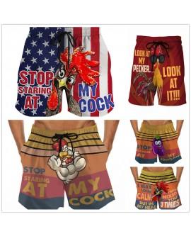 Men's Quick-drying Beach Pants Printed Elastic Waist Shorts