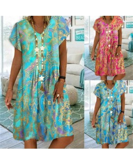 Women's V-neck Printed Temperament Commuter Short Sleeve Dress