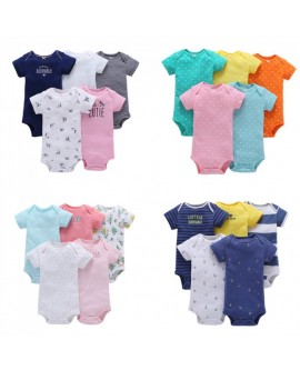 5 PCS Baby Short-sleeved Jumpsuit