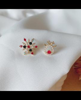 Asymmertrical Christmas Gift Snow& Elk Earrings