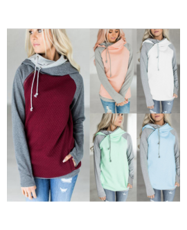Women's Winter Bandage Stitching Hoodies Pullovers