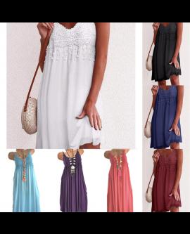 Women Ladies Fashion Crocheted Lace Summer Dress Midi Dress Long Dress