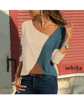 Women Casual Long Sleeve Loose Cotton Stitching Tops Shirts