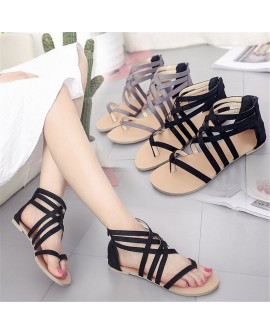 Women Gladiator Design Crisscross Straps Zipper Up Flat Thong Sandal