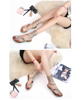 New Fashion Women Snake Circle Flat Sandals Female Summer Flat Sandals