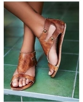 Women Summer Flat Leather Shoes Gladiator Casual Sandals