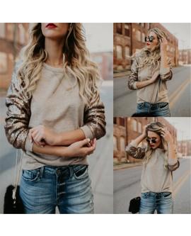 Women Fashion Sequin Patchwork Sweatshirt