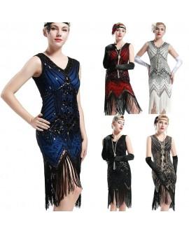 Vintage 1920s Flapper Dress Womens Gatsby Sequins Fringes Cocktail Party Dresses