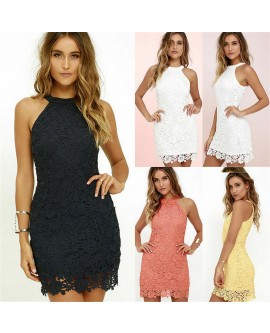 Women Lace Sleeveless Summer Mini Dress