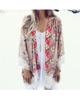 Women Loose Shawl Kimono Floral Blouse