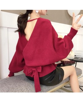 Women V-Neck Loose Sweater