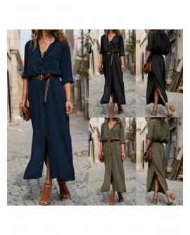 Women V Neck Button Tunic Shirt Dress Casual Long Sleeve Maxi Dress A-line Dress