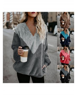 Women Long Sleeve V-neck Knitwear Casual Loose Pullover