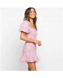 Women's Puff Sleeve Square Neck Print Dress Short Skirt