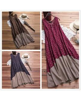 Sleeveless Cotton Linen Dress V-neck Casual Bohemian Beachwear