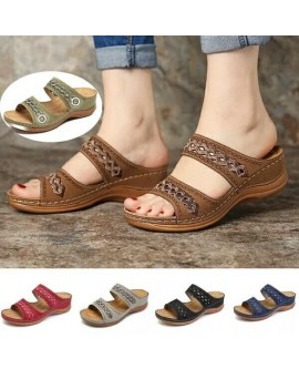 Womens Summer Comfort Open Toe Casual Slip-on Wedges Sandals